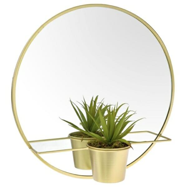 Кръгло метално огледало с поставка за саксия в златисто
