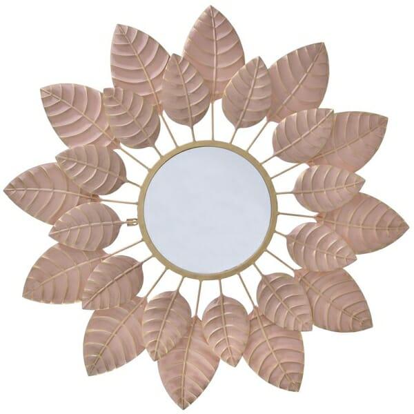Кръгло огледало като цвете с рамка от листа - розово