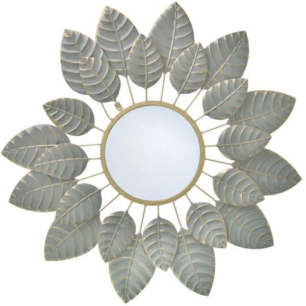 Кръгло огледало като цвете с рамка от листа - сиво
