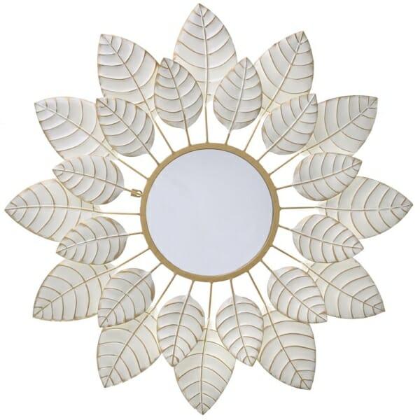 Кръгло огледало като цвете с рамка от листа - бяло
