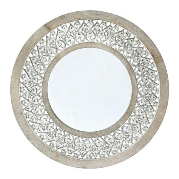 Кръгло орнаментирано огледало с рамка от избелено дърво и метал