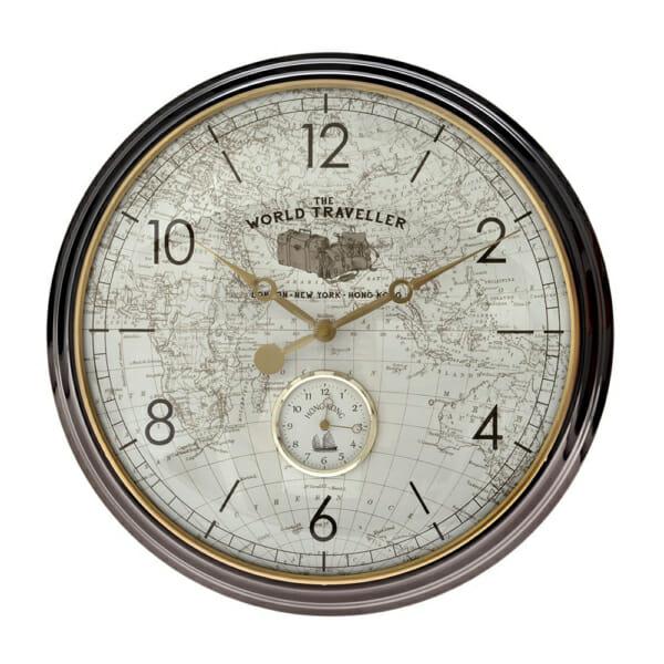 Кръгъл метален часовник за стена с винтидж карта на света
