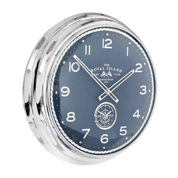 Кръгъл стенен часовник от метал със сребриста рамка