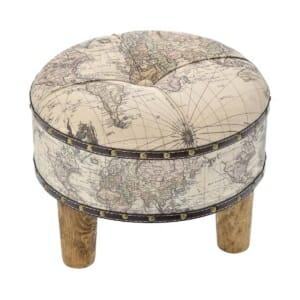 Кръгла табуретка с карта на света и дървени крачета