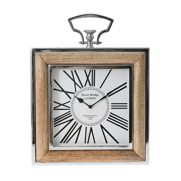 Правоъгълен стенен часовник от дърво и метал с римски цифри