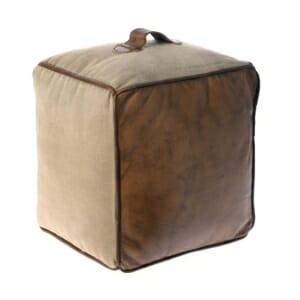 Квадратна пуф табуретка от кожа и текстил с дръжка