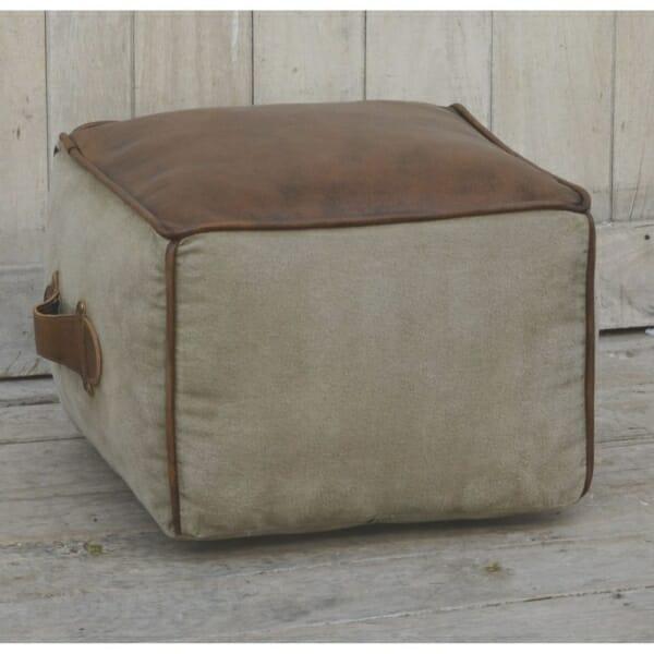 Квадратна пуф табуретка от кожа и текстил с дръжка - отстрани