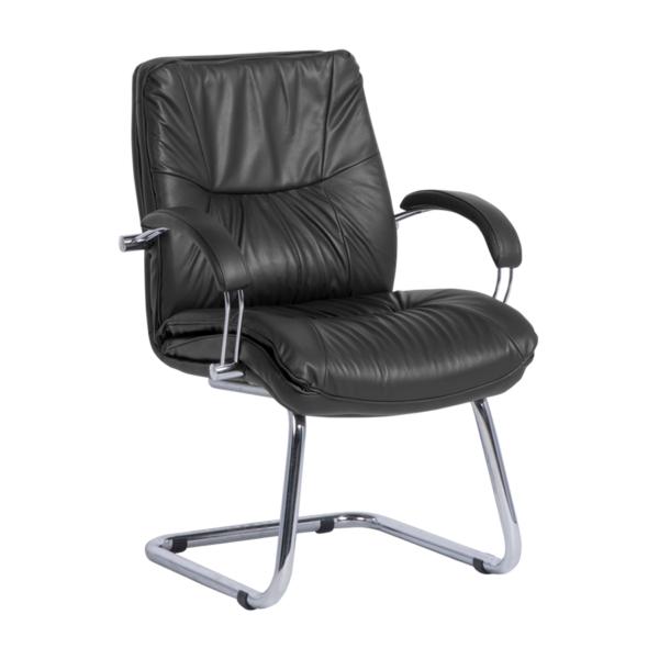 Луксозен посетителски стол с лице от естествена кожа в черно