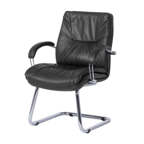Луксозен посетителски стол с лице от естествена кожа в черно - странично