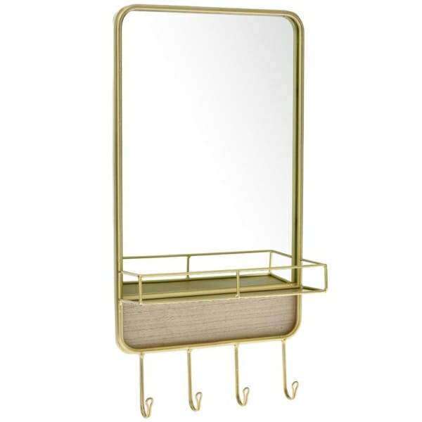 Метално огледало с рафт и 4 закачалки в златисто