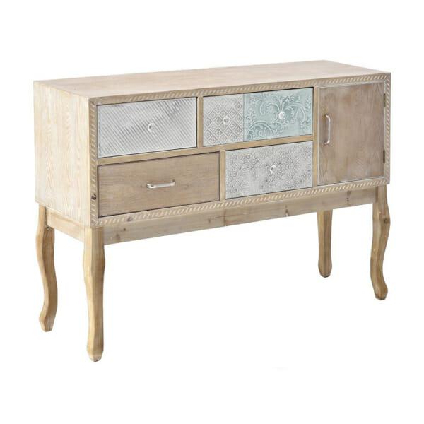 Нисък дървен шкаф с декорирани чекмеджета серия Flavia