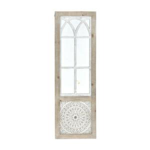 Огледало с дървена рамка и метални орнаменти имитиращо врата