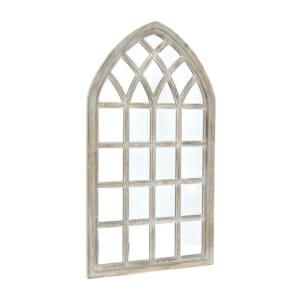 Огледало с рамка от избелено дърво като решетъчен прозорец
