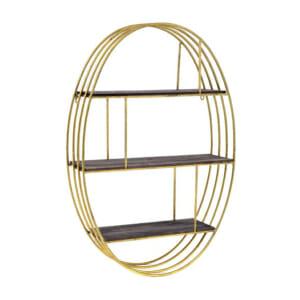 Овална метална етажерка с огледало в златисто и черно