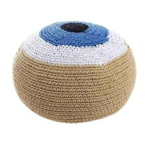 Плетена пуф табуретка в комбинация от красиви цветове