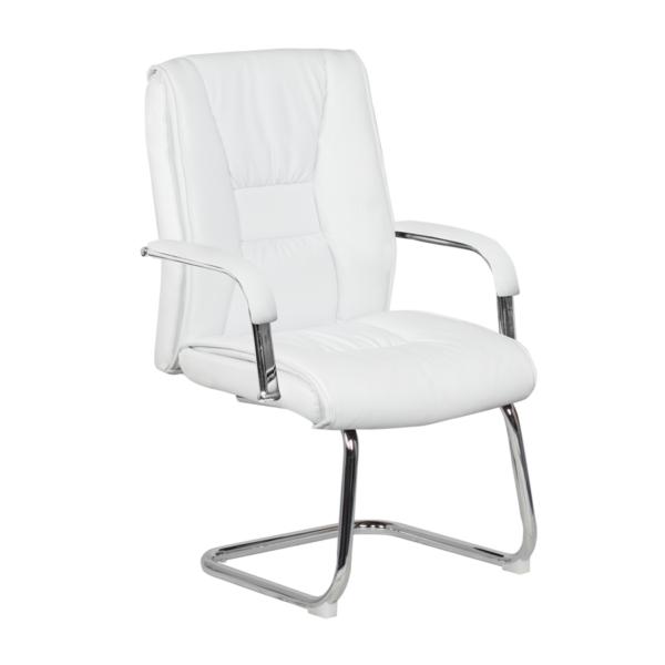 Посетителски стол от еко кожа с метална основа (4 цвята)