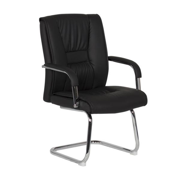 Посетителски стол от еко кожа с метална основа (4 цвята) - черен