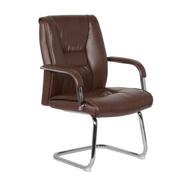 Посетителски стол от еко кожа с метална основа (4 цвята) - кафяв