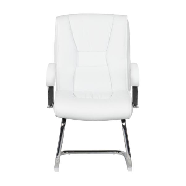Посетителски стол от еко кожа с метална основа (4 цвята) - отпред