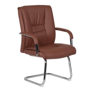 Посетителски стол от еко кожа с метална основа (4 цвята) - светлокафяв
