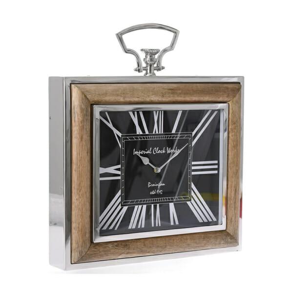 Правоъгълен часовник за стена с рамка от метал и дърво