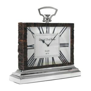 Правоъгълен настолен часовник с поставка и рамка от релефно дърво