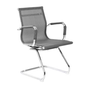 Сив посетителски стол с мрежести седалка и облегалка