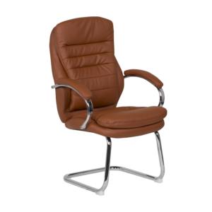 Стилен посетителски стол от еко кожа и метал (4 цвята)