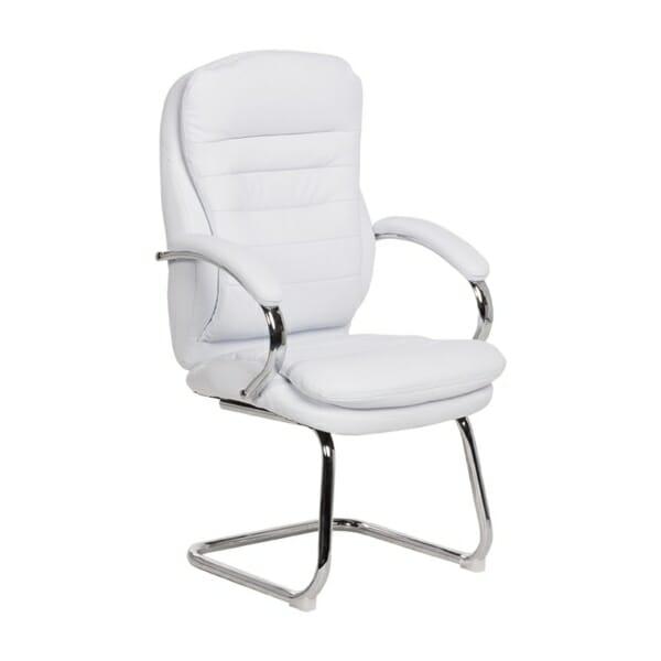 Стилен посетителски стол от еко кожа и метал (4 цвята) - бял