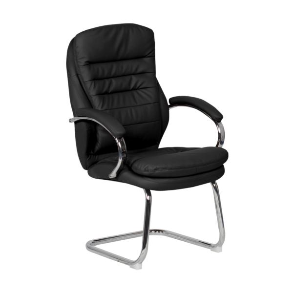 Стилен посетителски стол от еко кожа и метал (4 цвята) - черен