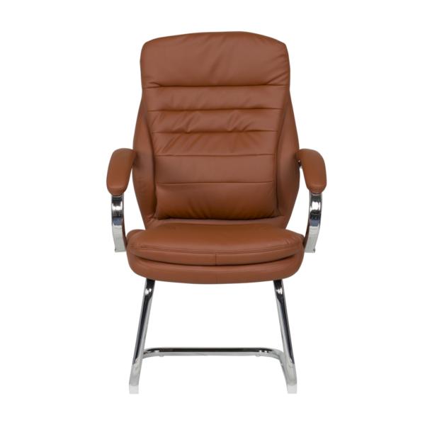 Стилен посетителски стол от еко кожа и метал (4 цвята) - отпред