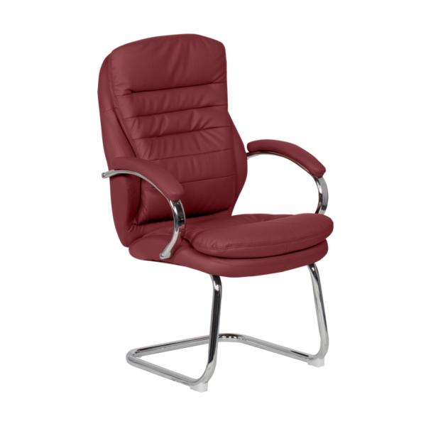 Стилен посетителски стол от еко кожа и метал (4 цвята) - вишна