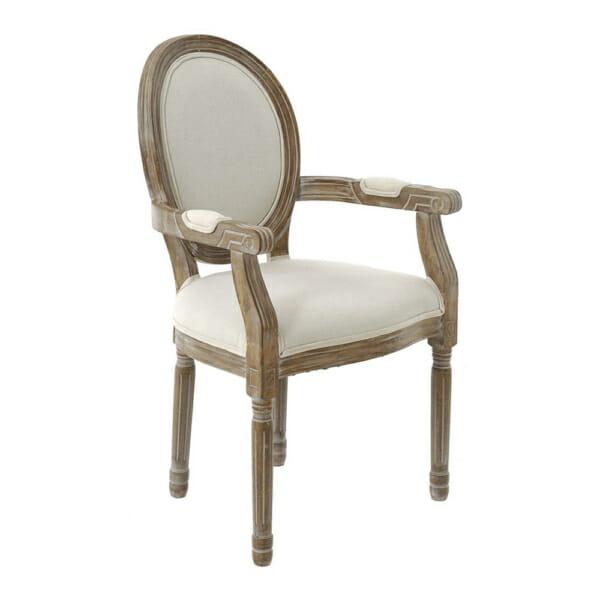 Стилен тапициран стол с дърворезбовани елементи