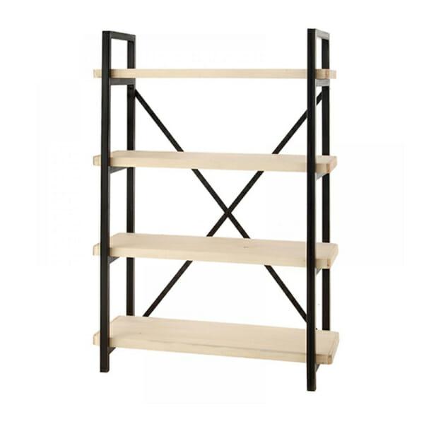 Свободностояща етажерка от метал с 4 дървени рафта