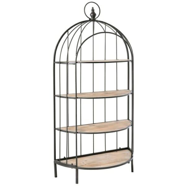 Свободностояща етажерка от метал и дърво като клетка за птици-отпред