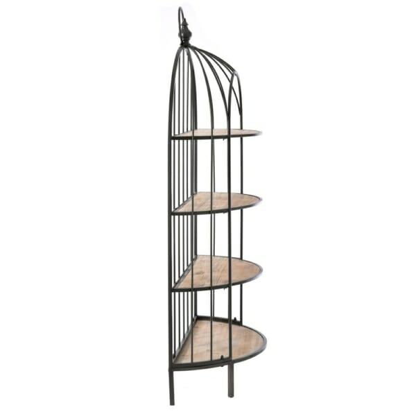 Свободностояща етажерка от метал и дърво като клетка за птици-отстрани