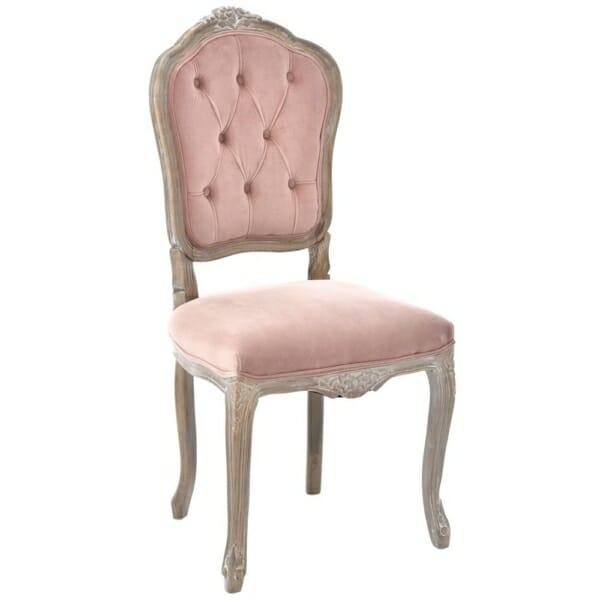 """Тапициран стол с резбована дървена основа серия """"Powder"""" -розов"""