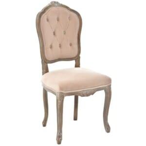 """Тапициран стол с резбована дървена основа серия """"Powder"""" -сметана"""