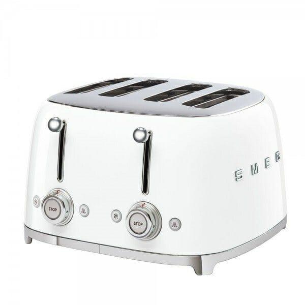 Тостер за 4 филии с ретро дизайн SMEG (7 цвята) - бял