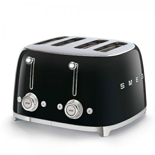 Тостер за 4 филии с ретро дизайн SMEG (7 цвята) - черен