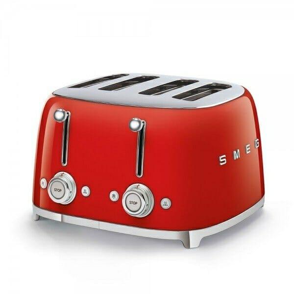 Тостер за 4 филии с ретро дизайн SMEG (7 цвята) - червен