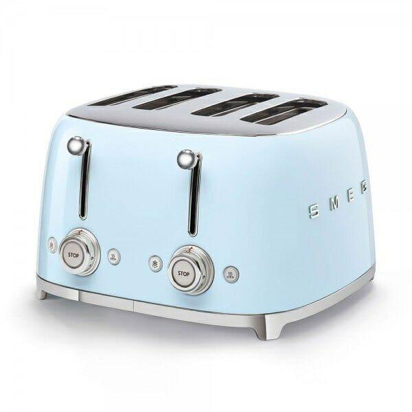 Тостер за 4 филии с ретро дизайн SMEG (7 цвята) - син