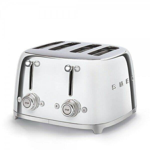 Тостер за 4 филии с ретро дизайн SMEG (7 цвята) - сребро