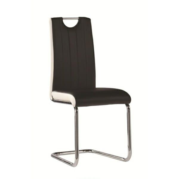 Трапезен стол с нестандартна основа в черно и бяло