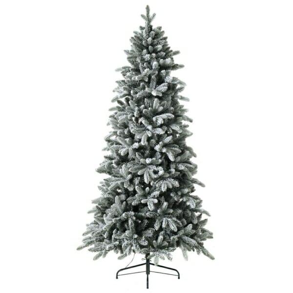 Заснежена коледна елха с LED лампички