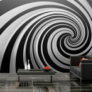 Голям фототапет с 3D ефект спирала в черно и бяло