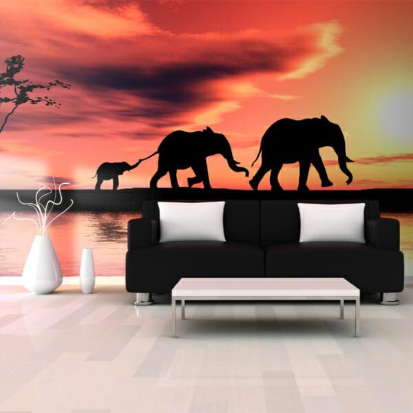 Фототапет XXL със семейство слонове по залез