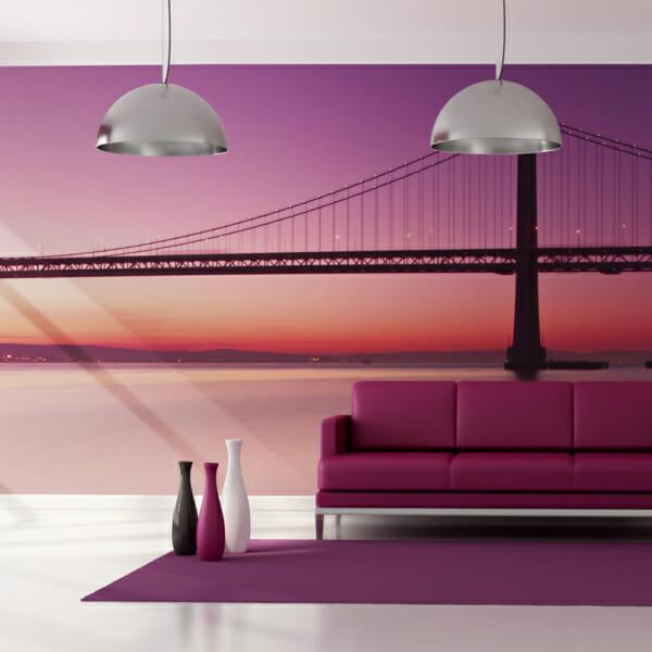 Голям фототапет със залез и мост в Сан Франциско