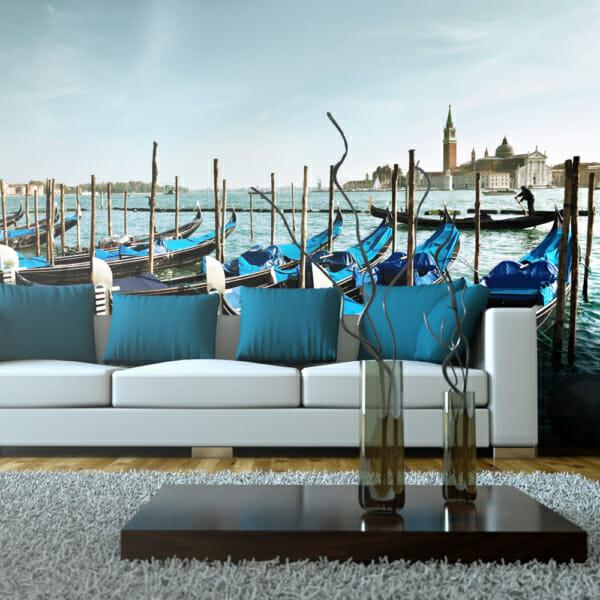 Голям фототапет за цяла стена с венециански гондоли