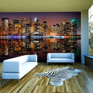 Фототапет XXL с огледални отражения във водата и Ню Йорк